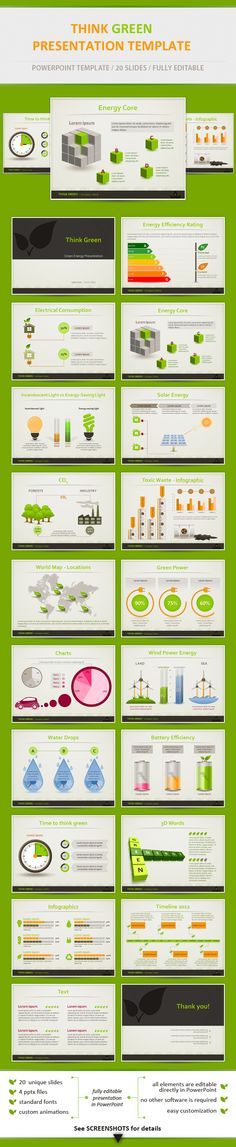 Think Green - Eco Friendly Powerpoint Presentation Template by Adrian Dragne, via Behance