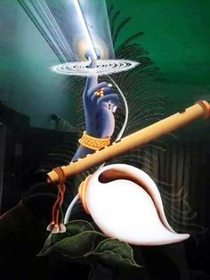 Krishna is Vishnu's Avatar. Peacocks feather, Flute, Shankh and Sudarshan chakra say it all. Lord Krishna Images, Radha Krishna Pictures, Radha Krishna Photo, Krishna Photos, Krishna Art, Krishna Tattoo, Krishna Flute, Hare Krishna, Krishna Leela