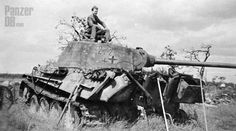 This Panther was knocked-out by PIAT in the city of Overloon probably between October and November 1944 during the hard fights for the city (maybe on October 13th). It belonged to the Panzer-Abteilung 2107 (Panzer-Brigade 107) and is probably pictured after World War Two.