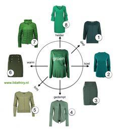Het verschil tussen warm en koel groen is belangrijk om te weten als je er goed uit wilt zien. Maar 'groen' kun je ook mengen met grijs, zwart of wit. Je krijgt dan weer andere kleuren groen. Bezoek het blog om te kijken welk groen bij jouw kleurtype past.