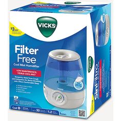 Vicks Filter-Free Ultrasonic Visible Cool Mist Humidifier for Medium rooms, Gallon With Auto Shut-Off, 30 Hours of Moisturized Air, Use With Menthol Scented Vicks VapoPads Vicks Humidifier, Cool Mist Humidifier, Foot Detox Soak, Dry Nose, Cold Symptoms, Nasal Passages, Relative Humidity, Sink Faucets