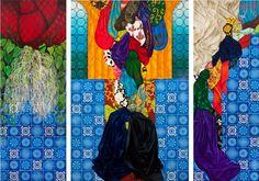 Sem título, 2010, óleo sobre tela, 250 x 90, 250 x 150 e 250 x 90 cm