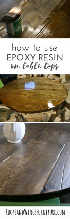 How to use epoxy resin to seal a plank farmhouse table. How to by Jenni of Roots and Wings Furniture.