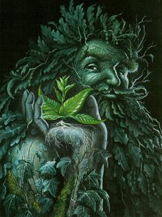 "☆ Found in many cultures in the world, Green Man is often related to natural vegetative deities springing up throughout the ages. Primarily, it is interpreted as a symbol of rebirth, or ""renaissance"", representing the cycle of growth each spring.☆"