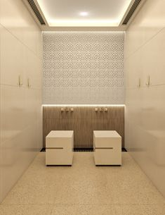 Leicester Modern Islamic Mosque Interior Design 32- Sleek and minimal ablution area near the prayer hall of the Leicester modern Islamic mosque, adorned with geometric pattern that references the identity of the place, with indirect lighting that subtly highlights the washing space and fronted by modern cube stools, by Comelite Architecture, Structure and Interior Design.