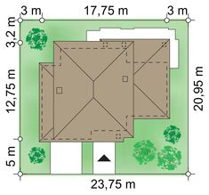 Działka 23.80 × 21.90 m domu Verona IV Bungalow House Design, House Entrance, Deco, Home Fashion, Verona, Ground Floor, Sweet Home, Homes, Flooring