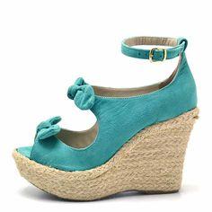 Sandália Plataforma Flor Da Pele Azul Turquesa Espadrilles, Wedges, Shoes, Products, Sisal, Monitor, Fashion, Women Sandals, Women's