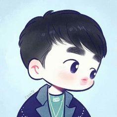 D.o fan art Kyungsoo, Kaisoo, Chanyeol, Kpop Drawings, Cute Drawings, D O Exo, Exo Cartoon, Cartoon Art, Exo Stickers