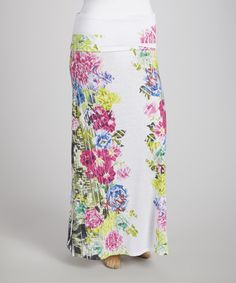 Look what I found on #zulily! White & Green Floral Maxi Skirt - Plus by Poliana Plus #zulilyfinds