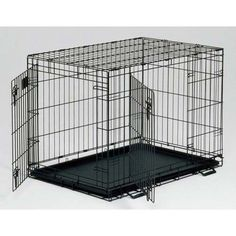 """Midwest Life Stages Double Door Dog Crate Black 48"""" x 30"""" x 33"""""""