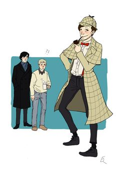 The 53 Best, Worst, And Weirdest Examples Of Doctor Who/Sherlock Crossover Fan Art omg jawns face in this one.