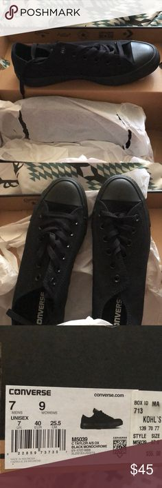 Brand new w/box all black converse Purchased from Kohl's about two months ago just sitting in my closet since still wrapped up in the tissue paper inside the box I Loved these but I just have chubby feet so they need a new home Men's 7 ladies size 9 Converse Shoes