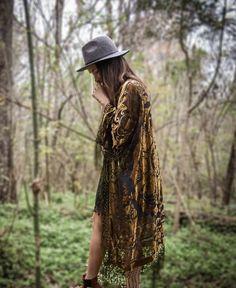 30% DE DESCUENTO Terciopelo de Boho Kimono verde por HippieMassa