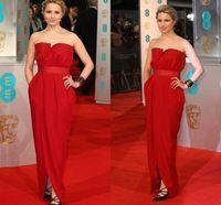 Dianna Agron Dress 68th BAFTA Awards Imitation Celebrity Dresses Red Strapless With Slit Sash Floor Length Celebrity Gowns