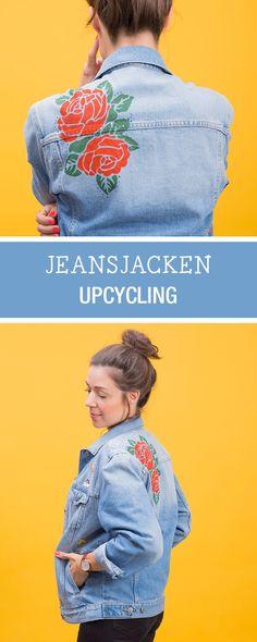 Upcycling DIY: Alte Jeansjacke mit Textilfarbe, Schablone und Patches verschönern mit Rico.Design / fashion diy: upcycle an old denim jacket with patches and textile dyes via DaWanda.com
