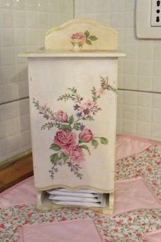 Pink roses #decoupage lady business dispenser for the bathroom.