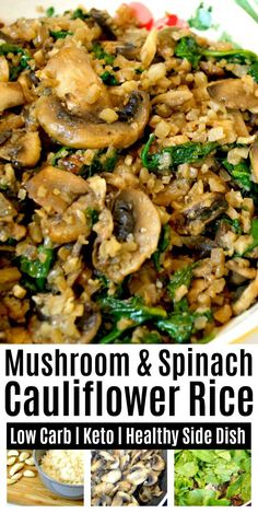 Low Carb Mushroom & Spinach Cauliflower Rice Easy Healthy Holiday Side Dish The post Low Carb Mushroom & Spinach Cauliflower Rice appeared first on Tasty Recipes. One Dish Meals Tasty Recipes Vegetarian Recipes Easy, Vegetable Recipes, Low Carb Recipes, Diet Recipes, Cooking Recipes, Thai Recipes, Best Healthy Recipes, Vegetarian Keto, Healthy Recipes