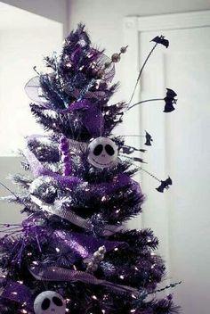 nightmare before christmas halloween tree. Love the bats Black Christmas, Halloween Christmas Tree, Holiday Tree, Halloween Party Decor, Holidays Halloween, Christmas Themes, Christmas Tree Decorations, Christmas Holidays, Xmas Tree