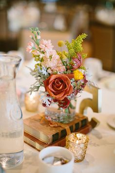 University of Wisconsin Fall Wedding, Vintage Inspired Centerpieces   Brides.com