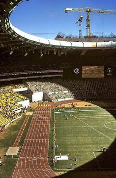 Pentathlon Hurdles, Olympic Stadium, Montreal 1976 100 metre Women's Hurdles Pentathlon race at Montreal's Olympic Stadium during Olympic G...