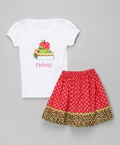 Another great find on #zulily! White Smarty Personalized Tee & Skirt - Infant, Toddler & Girls #zulilyfinds