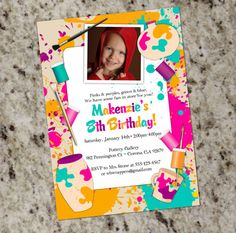 Paint Your Own Pottery Birthday Party Invitation  by Whirlibird, $12.99