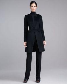 St. John - Shop Online - Sale - Leather Collar Coat, Jersey Turtleneck Shell & Diana Marocain Pants