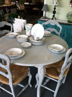 Grey chalk painted and distressed table set.