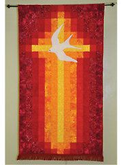 Quilt a divine and stunning banner. This beautiful, simple banner celebrates the Pentecost in a straightforward and bold way. The cross becomes a flame, and a dramatic use of color with batiks makes it really dynamic. This banner makes a great East. Log Cabin Quilts, Barn Quilts, Hanging Quilts, Quilted Wall Hangings, Cross Patterns, Quilt Patterns, Quilting Projects, Quilting Designs, Church Banners Designs