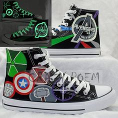 bc9048b93d08 Marvel Comic The Avengers Hand Painted Canvas Shoes High Top Sne