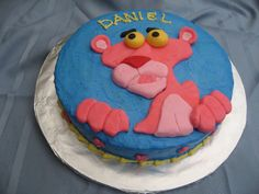 Pink Panther - The cake is covered in buttercream and Pink Panther is made from fondant.