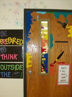 Art Classroom Door Decoration Idea - Decoration For Home Art Classroom Door, Art Classroom Management, Classroom Ideas, Classroom Organization, Middle School Art, Art School, Art Bulletin Boards, Bullentin Boards, Art Room Doors