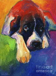 Colorful Saint Bernard dog painting by Svetlana Novikova, it was done with acrylics on canvas, www.SvetlanaNovikova.com