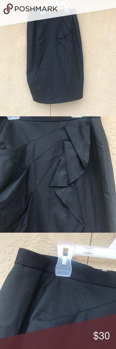 Elie tahari skirt Black ruffle skirt, virgin wool. Fully lined, size 2. Like new Elie Tahari Skirts