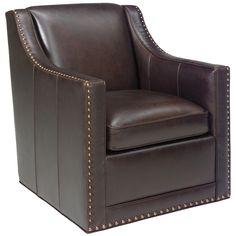 """Lexington Leather Barrier Leather Swivel Chair. Details: - Collection: Lexington Leather Measurements: - Dimensions: 29.5"""" w x 35"""" d x 34.5"""" h - Inside Dimensions: 221"""" d - Arm Height: 25.5"""" h - Seat"""