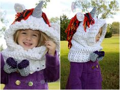 Top 5 unicorn crochet patterns: unicorn cowl hat by silly stitches