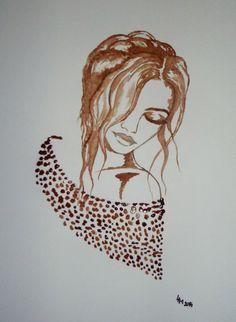 Coffee Artwork, Coffee Painting, Paint Buckets, Kraft Paper, Mehndi Designs, Portraits, Lovers Art, Cool Art, Art Drawings