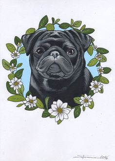 Sketchbook drawing of a cute black pug by Jeroen Teunen