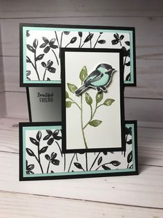 Shell Stamps: Stampin' Up! Petal Palette, Stampin' Blends, Petal Passion dsp from 2018 Occasions catalog Fancy Fold Cards, Folded Cards, Acetate Cards, Step Cards, Shaped Cards, Easel Cards, Bird Cards, Stamping Up Cards, Card Tutorials