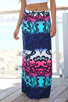 Color Pop! This super cute Navy and Neon Pink Printed Maxi Skirt is definitely a must have piece! We just love this fun print, amazing color combo and the fit is simply flawless! - 92% Polyester - 8%