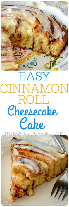 EASY Cinnamon Roll Cheesecake Cake | The Domestic Rebel | this is awesome! A GIANT gooey cinnamon roll filled with creamy cheesecake filling and topped with vanilla glaze. Great for anytime of day and is so fast and simple!