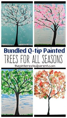 Easy Bundled Q-tip stamped tree paintings for every season. Winter, spring, summer and fall arts and craft project for kids. Make cherry blossoms or beautiful autumn leaves. Great for toddlers or preschoolers (easy projects for toddlers) Preschool Art Projects, Easy Art Projects, Craft Projects For Kids, Arts And Crafts Projects, Art Activities, Craft Kids, Craft Art, Kids Crafts, Tree Crafts