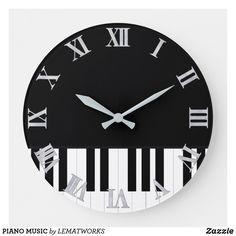 PIANO MUSIC LARGE CLOCK