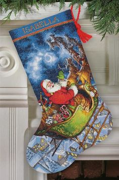 Cross Stitch Kit SANTAS FLIGHT STOCKING by TheAngelsNook on Etsy