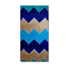 'Blue and Gold Chevron' by Nicole Dietz Painting Print on Wrapped Canvas