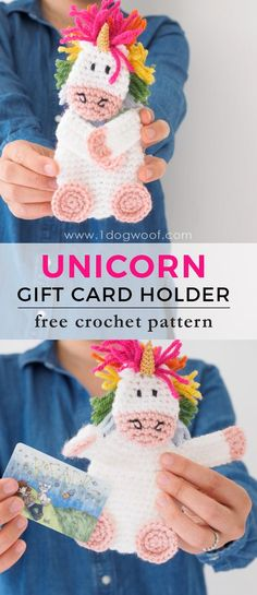 Make your gift extra special with an adorable crochet unicorn gift card holder. Free crochet pattern at www.1dogwoof.com
