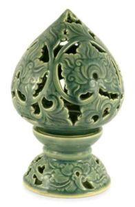 BLUE LOTUS ~ Thai Celadon Ceramic Candle Holder~ NOVICA