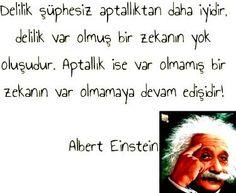 Delilik şüphesiz aptallıktan daha iyidir.  Delilik var olmuş bir zekanın yok oluşudur. Aptallık ise var olmamış bir zekanın var olmamaya devam edişidir... Albert Einstein