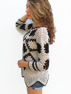 Retro Women Crochet  Granny square sweater Grey-Black Crochet