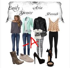 Pretty Little Liars style - Emily, Spencer, Aria, Hannah -